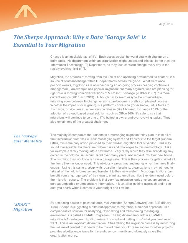 """The Sherpa Approach:  Why a Data """"Garage Sale"""" is Essential to Your Migration"""