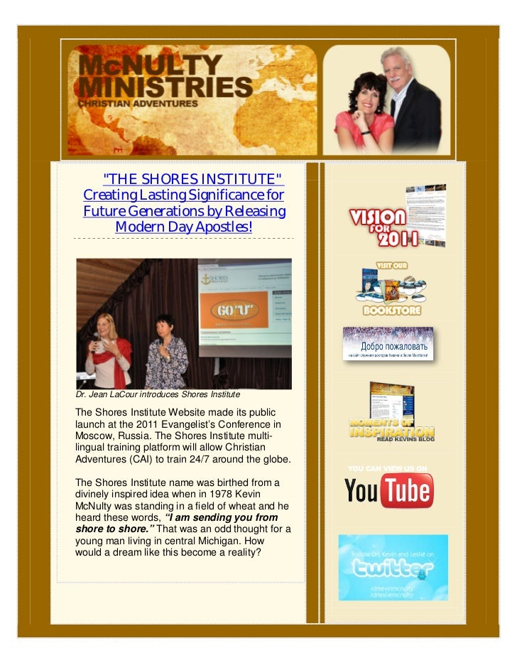 """""""THE SHORES INSTITUTE""""  Creating Lasting Significance for  Future Generations by Releasing       Modern Day Apostles!Dr. J..."""