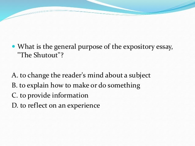 Purpose of an expository essay