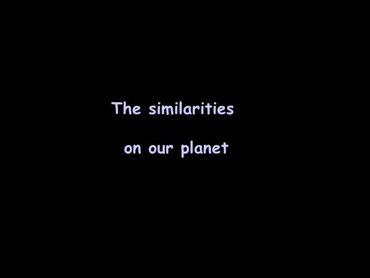 The similarities  on our planet