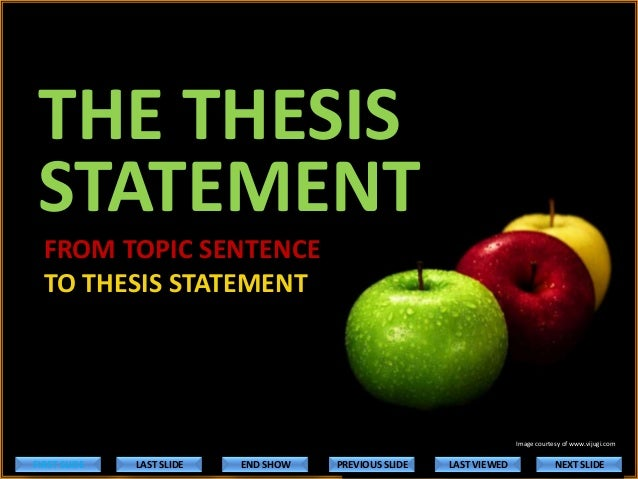 THE THESIS STATEMENT FROM TOPIC SENTENCE TO THESIS STATEMENT  Image courtesy of www.vijugi.com  FIRST SLIDE  LAST SLIDE  E...