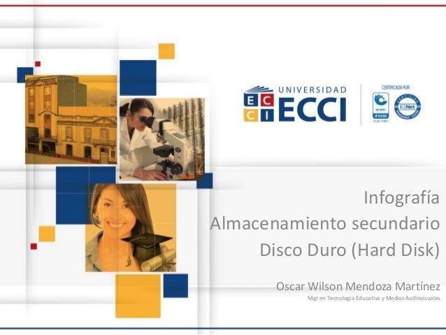 Infografía Almacenamiento secundario Disco Duro (Hard Disk) Oscar Wilson Mendoza Martínez Mgr en Tecnología Educativa y Me...