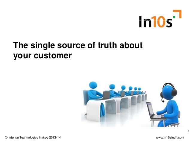 The single source of truth about your customer Webinar – Tuesday, 28th January 2014 © Intense Technologies limited 2013-14...