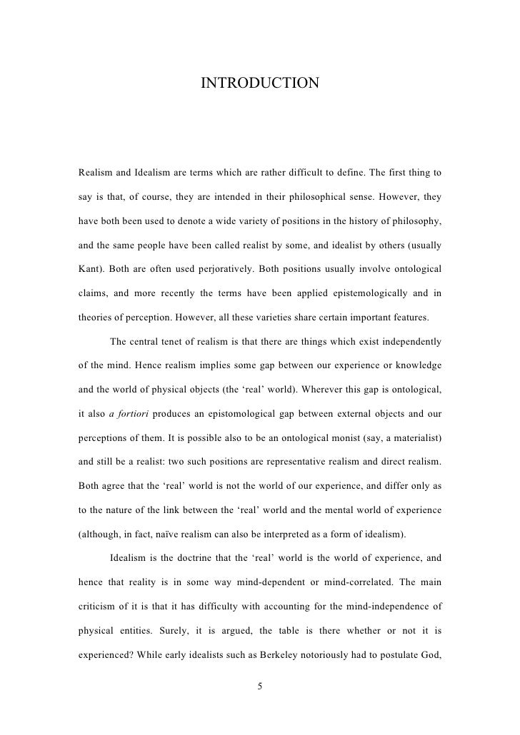 Masters thesis on realism