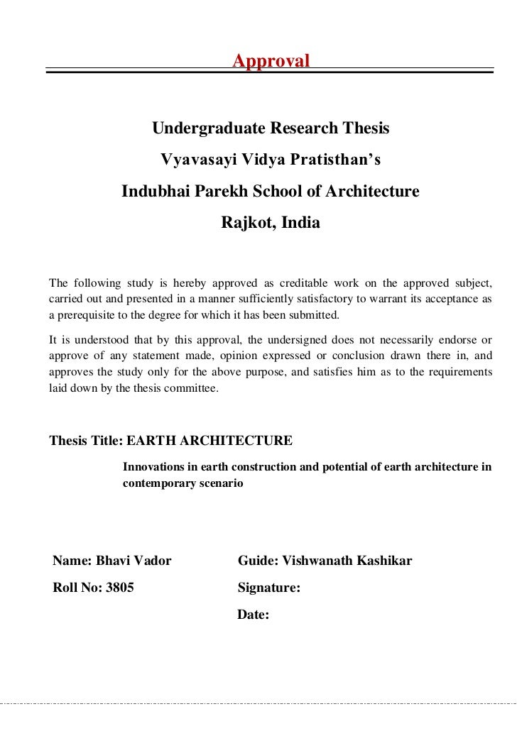 Dissertation thesis architecture