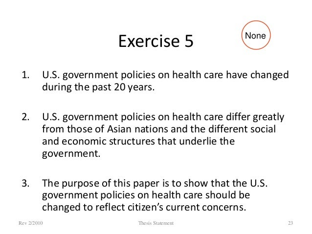 Thesis statement about health