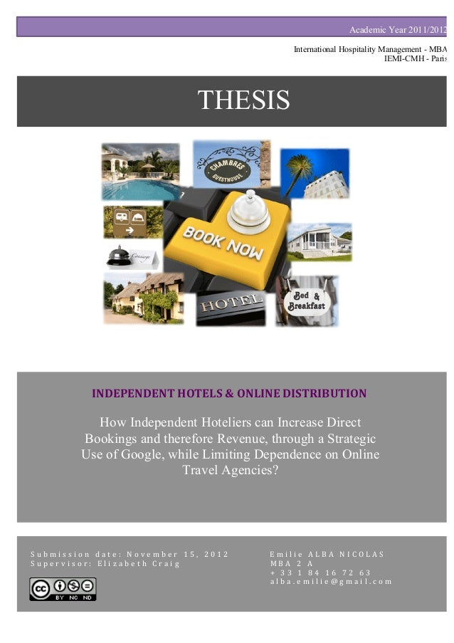Thesis - A Direct Booking Strategy for Independent Hotels