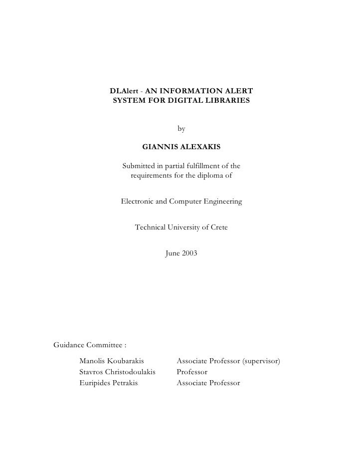 "Thesis:""DLAlert and Information Alert System for Digital Libraries"""