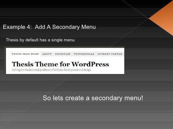 thesis secondary menu