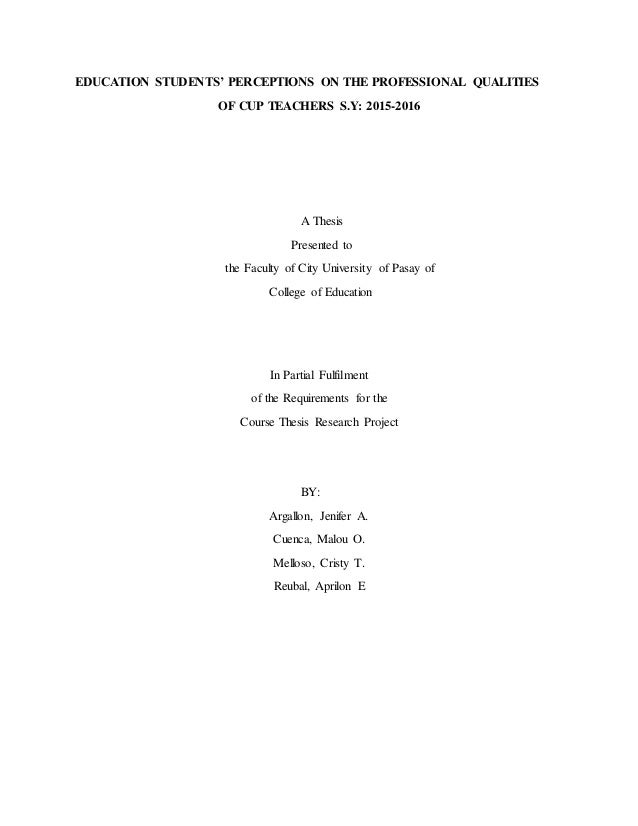 Sample thesis title about education