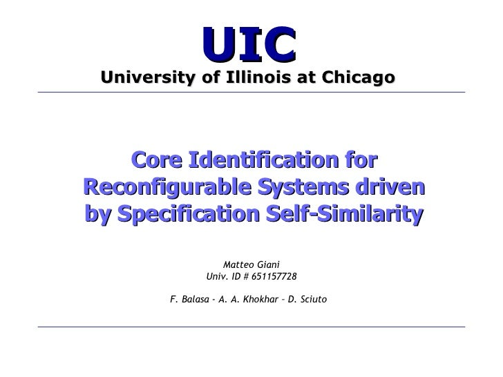 Core Identification for Reconfigurable Systems driven by Specification Self-Similarity Matteo Giani Univ. ID # 651157728 F...