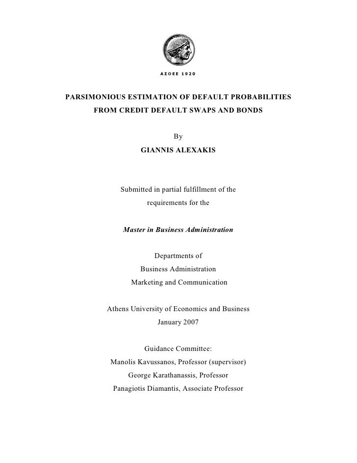 """Thesis Document """"Parsimomious Estimation of Default Probabilities from Credit Default Swaps and Bonds"""""""