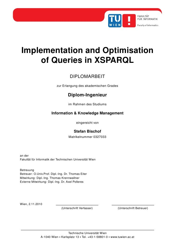 Implementation and Optimisation       of Queries in XSPARQL                                      DIPLOMARBEIT             ...