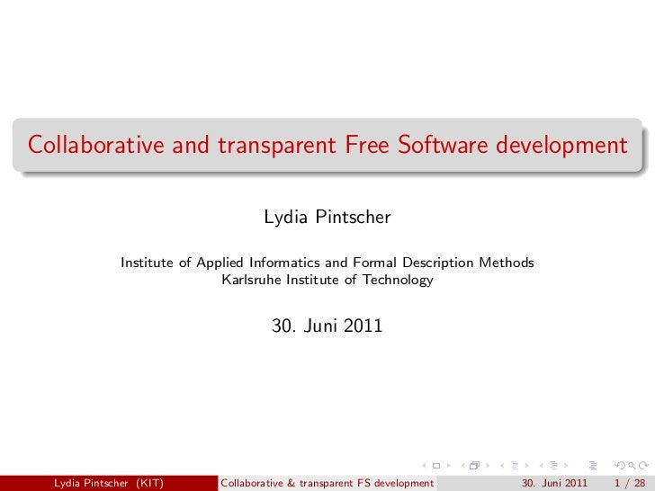 Collaborative and transparent Free Software development                                     Lydia Pintscher              I...