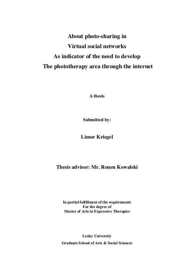 About photo-sharing in Virtual social networks As indicator of the need to develop The phototherapy area through the inter...