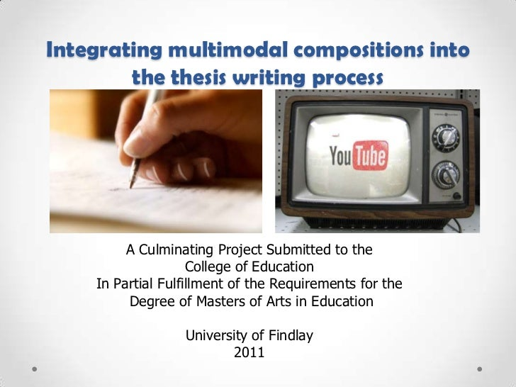 Integrating multimodal compositions into the thesis writing process<br />A Culminating Project Submitted to the <br />Coll...