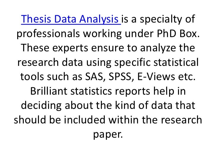 Data analysis chapter of a thesis