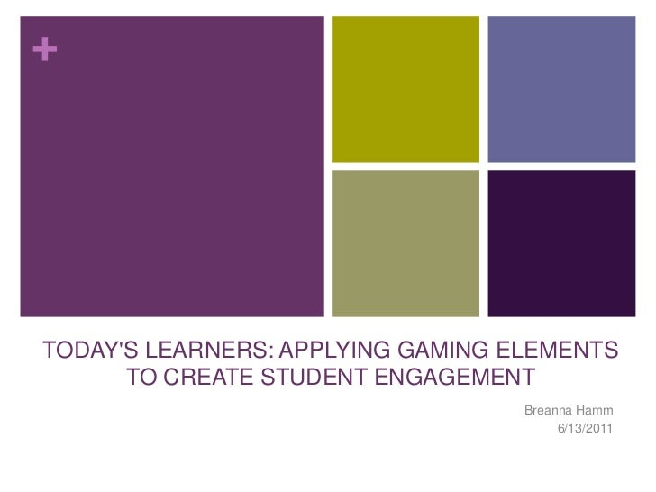 TODAY'S LEARNERS: APPLYING GAMING ELEMENTS TO CREATE STUDENT ENGAGEMENT<br />Breanna Hamm<br />6/13/2011<br />