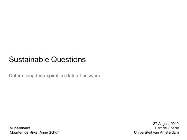 Sustainable Questions