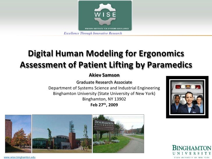 Excellence Through Innovative Research                  Digital Human Modeling for Ergonomics            Assessment of Pat...