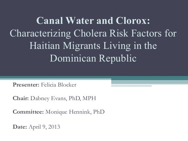 Thesis Defense Presentation:  Characterizing Cholera Risk Factors