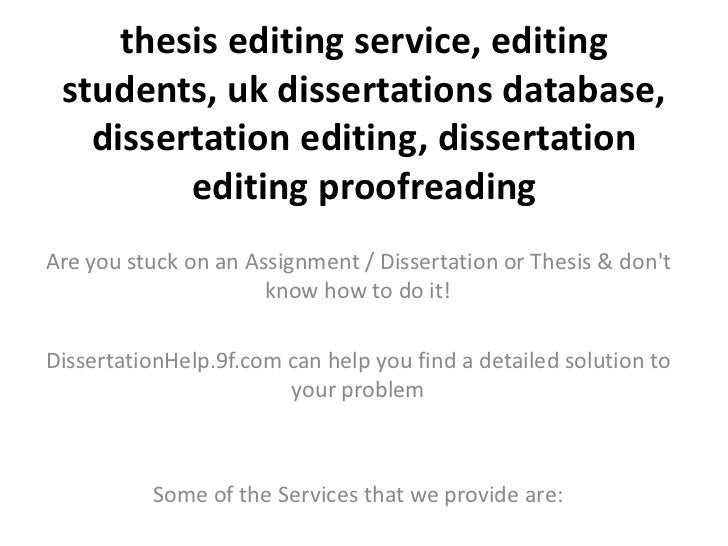Dissertation Proofreading Services And Editing