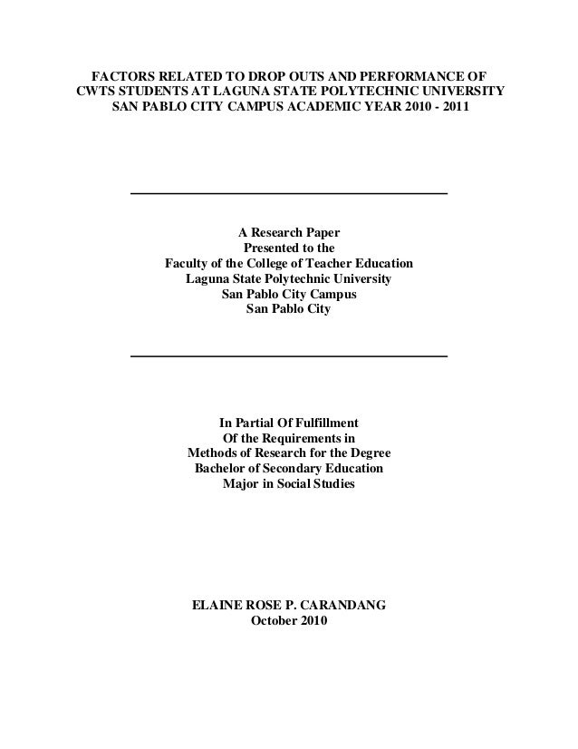 front page format for research paper