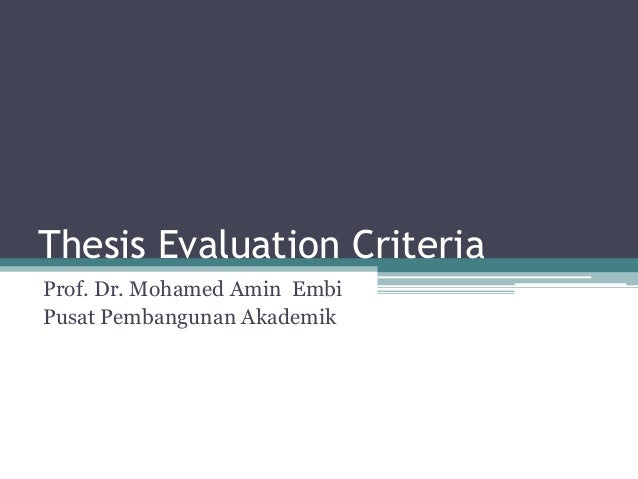 Thesis evaluation criteria