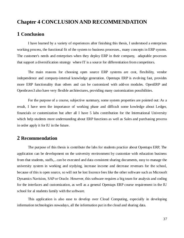 Conclusion And Recommendation For Thesis