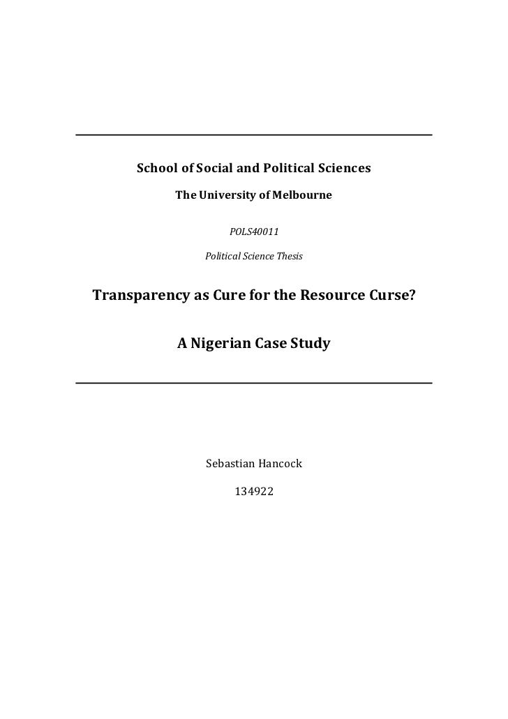 Transparency as Cure for the Resource Curse?  A Nigerian Case Study