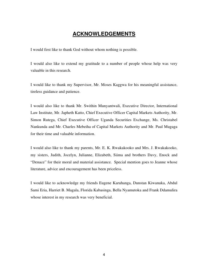 acknowledgement for dissertation thesis