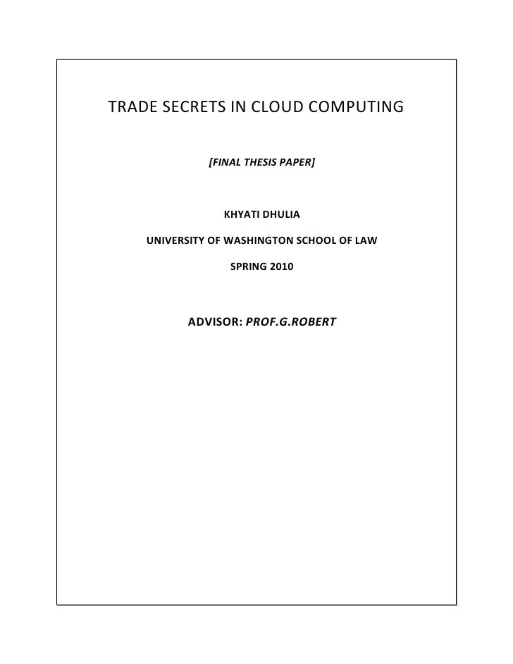 Trade Secrets In Cloud Computing