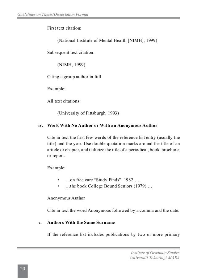 apa format citing masters thesis