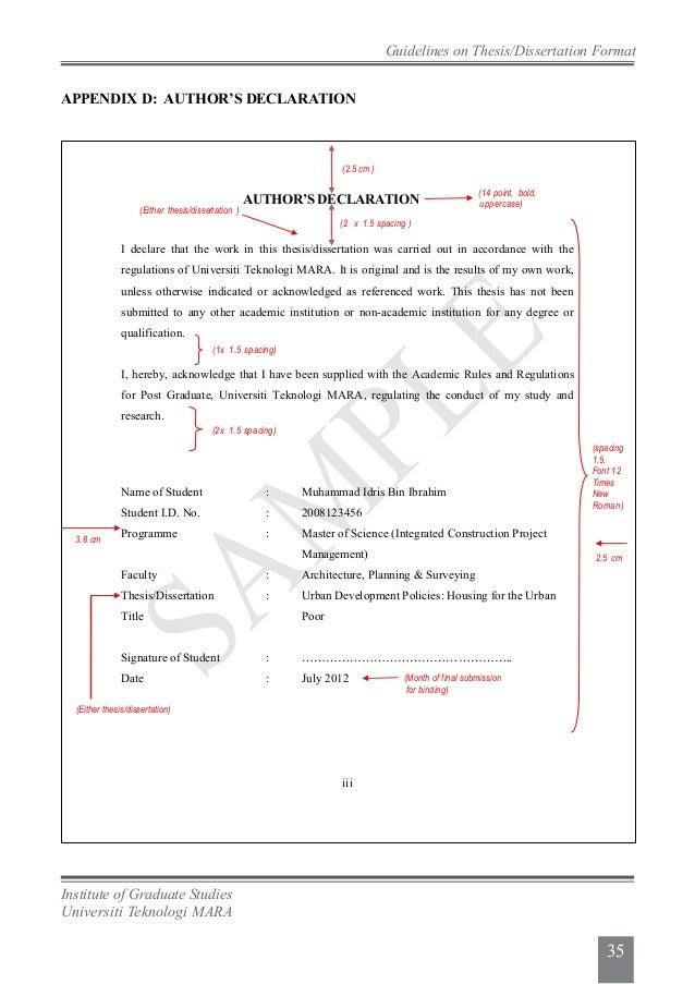 dissertation declaration