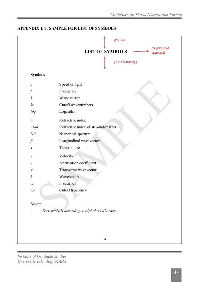Dissertation Appendix Structure