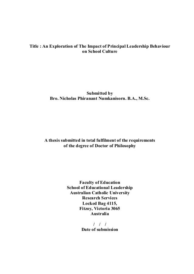Thesis: An Exploration of The Impact of Principal Leadership Behaviour on School Culture