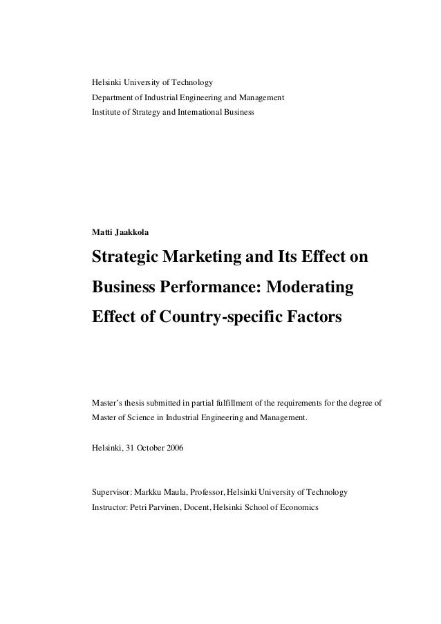 Management thesis on marketing