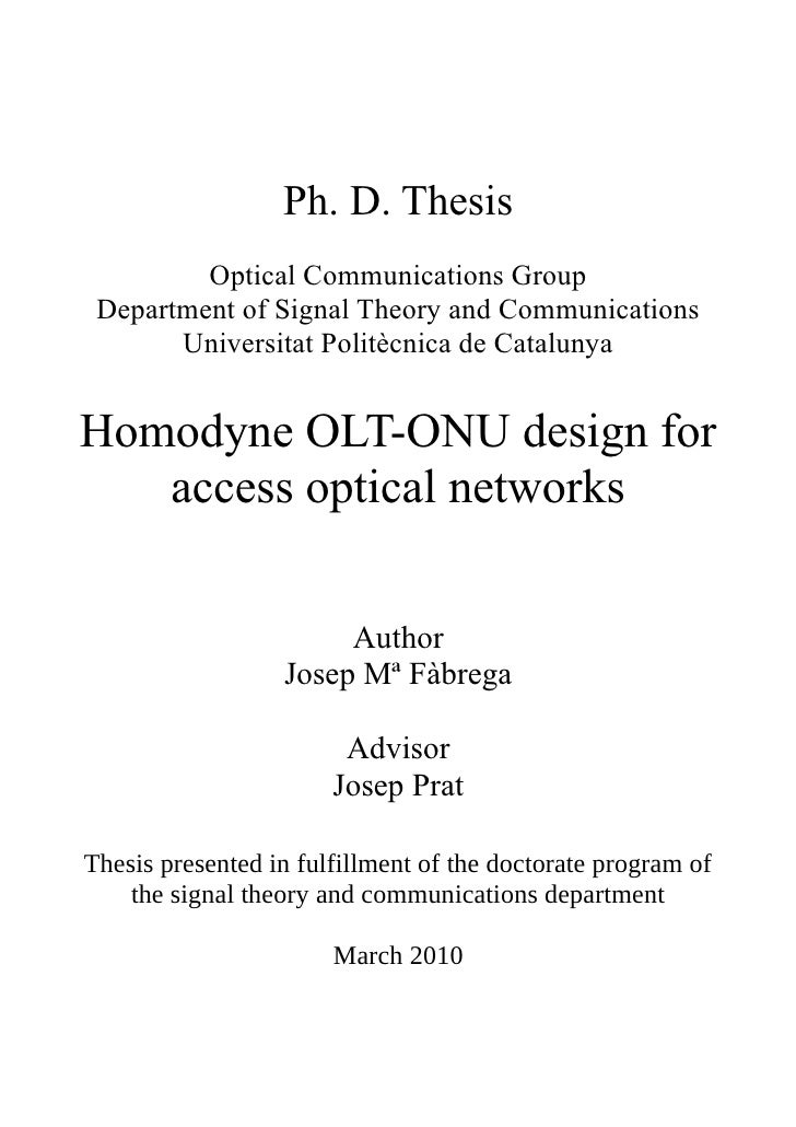 Ph. D. Thesis          Optical Communications Group  Department of Signal Theory and Communications        Universitat Pol...