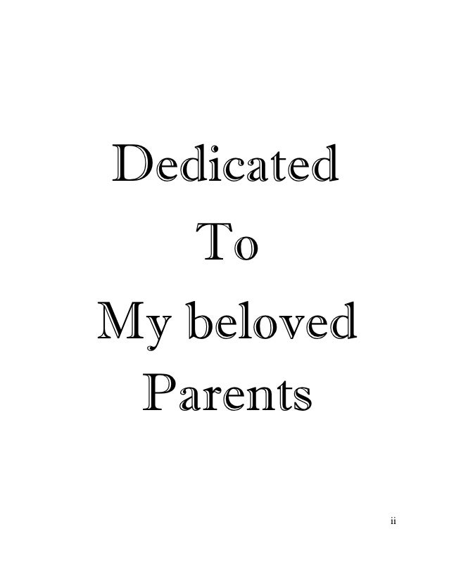 Best thesis dedication to parents