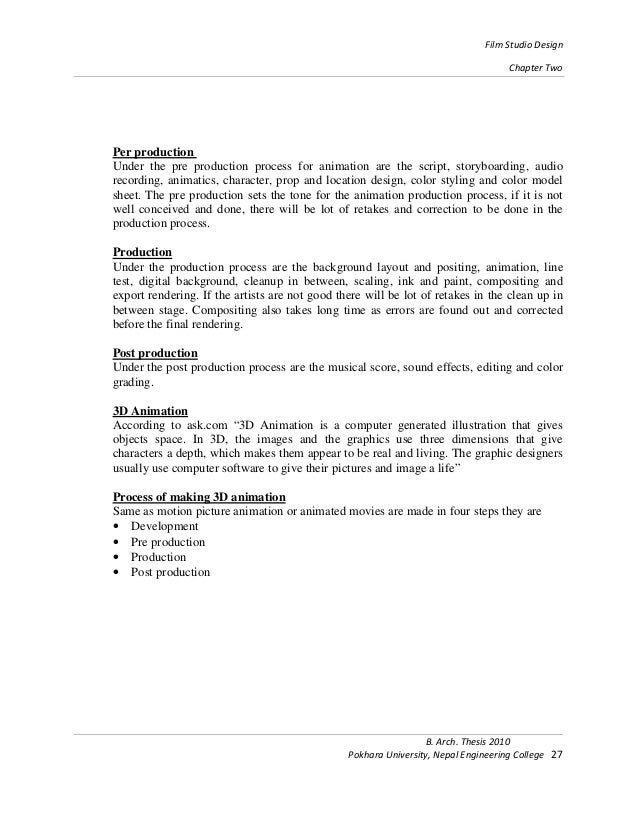 Dissertation film production