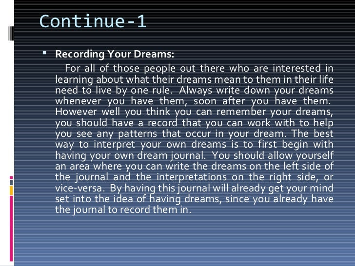 dreams thesis
