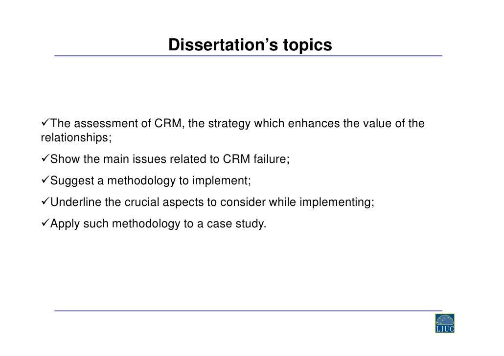 phd thesis on crm Look through free great mba dissertation topics on crm gathered in one list by clicking here right now without any hassles.
