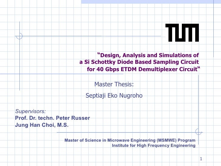 """ Design, Analysis and Simulations of  a Si Schottky Diode Based Sampling Circuit  for 40 Gbps ETDM Demultiplexer Circuit ..."