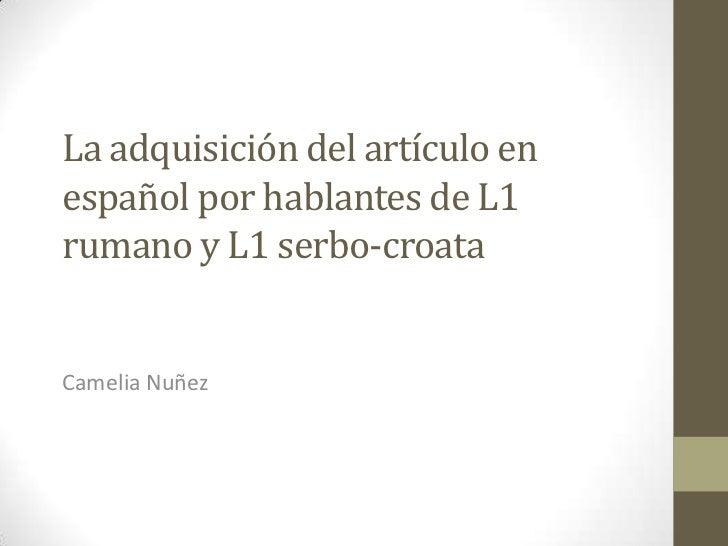 La adquisición del artículoen españolporhablantes de L1 rumano y L1 serbo-croata<br />Camelia Nuñez<br />