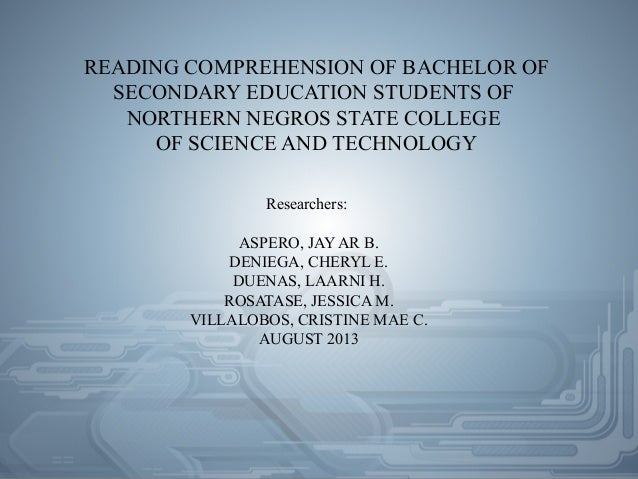 thesis proposal on reading comprehension