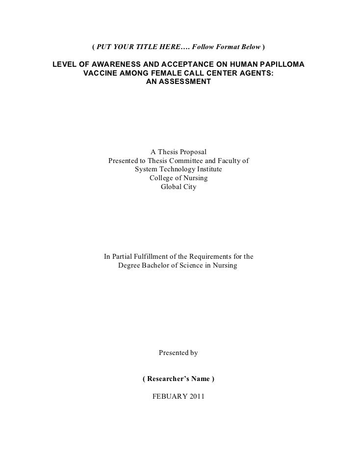 samples of thesis proposal