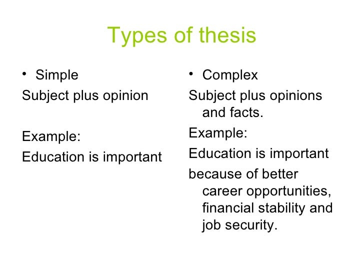 3 types of thesis statements Each type of thesis statement works to reinforce the purpose of the specific type of essay analytical thesis statement an analytical essay analyzes an issue as the writer of this type of paper, you are expected to define the topic and then break down and evaluate some aspect of that topic.