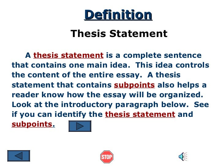 how does the thesis statement aid the writer
