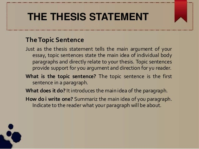 Writing a thesis statement expressing the main idea of a