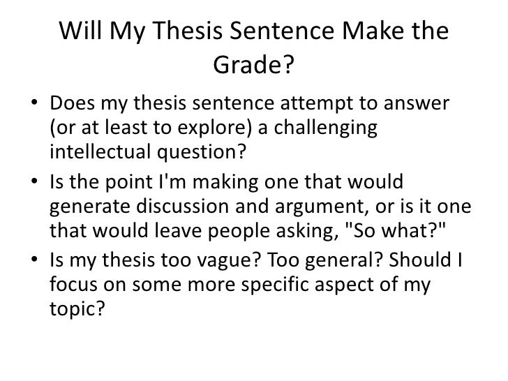 how to make a thesis sentence